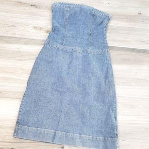 Theory elegant strapless jeans dress sz 4
